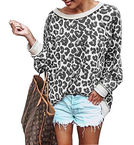Barlver Women's Casual Hoodies Long Sleeve Sweatshirts Leopard Print Sweater Shirts(Leopard grey-50 XL) ()