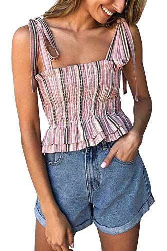 (KAKALOT Women's Frill Smocked Crop Tank Top Tie Shoulder Strap Sleeveless Summer Shirt Vest Pink L)