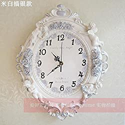 Y-Hui Antique Wall Clock Clock On The Wall Of The Living Room Wall Clock Quartz Clock Angel Decor, 16 Inch, M White Painted Silver