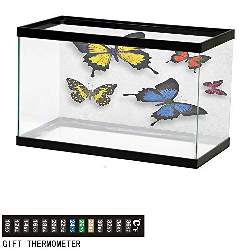 Butterflyfish Tank BackdropVarious Colorful Butterflies Pattern and Moths with Grace of Nature Themed Wings36 L X 24