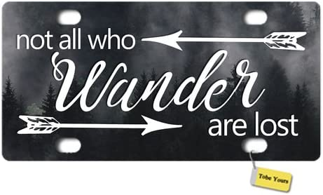 Tobe Yours License Plate Cover Not All Who Wander are Lost Arrow Misty Forest with Dense Fog Printed Auto Truck Car Front Tag Personalized Metal License Plate Frame Cover 6x12