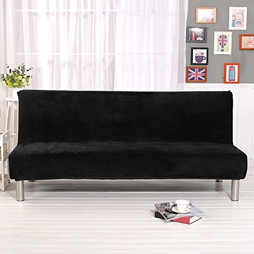 (Younar Solid Color Armless Futon Cover Sofa Bed Cover Full Size Thicker Plush Sofa Cover Protector Sofa Slipcover (Black))