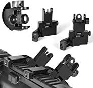 HWZ New Tactial Front and Rear Flip up 45 Degree Offset Rapid Transition Backup Iron Sight