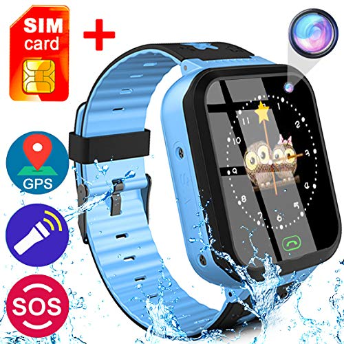 [SIM Card Included]Kids Smart Watch Phone for Girls Boys - IP68 Waterproof GPS Tracker Locator Touch Camera Games SOS Outdoor Digital Wrist Cellphone Watch Bracelet for Holiday Birthday Gifts