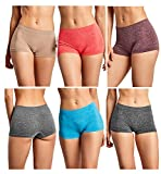 Gilbins Women Seamless Stretch Boy Shorts Panties Various Styles (Heather 1)
