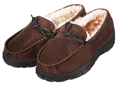 CareBey Men's Winter Comfortable Warm Moccasins Slippers With Anti Slip Rubber Sole Loafers Shoes