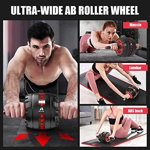 Purple Automatic Rebound Ab Cover Pro Roller Fitness Exercise Equipment for Core Workout Ultra-wide Ab Roller Wheel Mute Abdominal Wheel