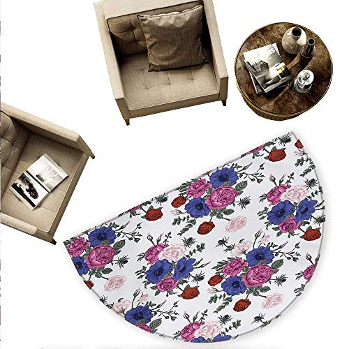 Anemone Flower Semicircle Doormat Bouquets of Roses Anemones Eustoma Colorful Corsage Bedding Plants Design Halfmoon doormats H 59