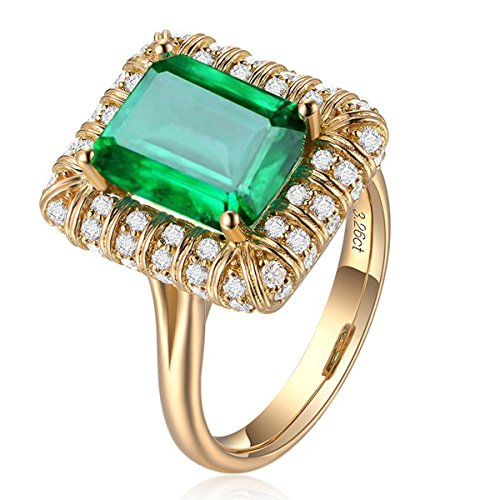 Vintage Women 18K Gold Rectangle Green Simulated Emerald Gemstone Crystal Band Rings Jewelry Size 6