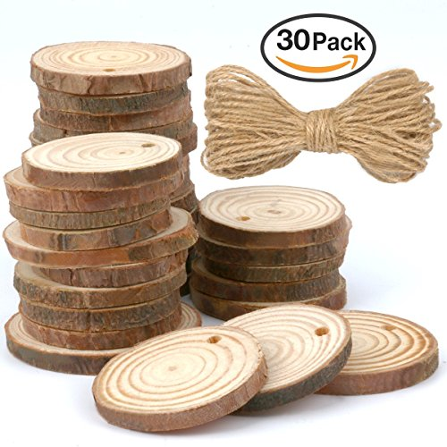 MCIRCO Unfinished Craft Wood, 30 Pieces 1.57-1.96 Inch Natural Wood Slices with Holes and 33 Feet Natural Jute Twine for Christmas DIY Crafts Ornaments and Home Decoration Home Made Christmas Tree