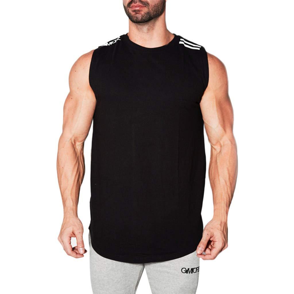 O Neck Tie Tops,Men's Spring Summer and Autumn Features Round Collar Slim Elastic Vest Pullover,Black,M