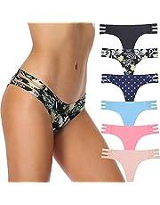 AUFU String Thong Underwear Women Seamless Underwear Sexy String Panties Soft Stretch Hipster 6 Pack