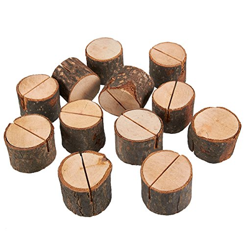 Juvale Wooden Place Card Holder - 12-Pack Wedding Table Number Holders, Photo Holder Table Decorations, Business Card Holders, 1.3 x 1.125 x 1.3 inches
