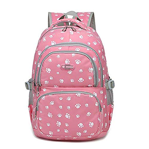 (Lovely Dog Paw Prints Waterproof Capacity School Backpack with 14 inch Padded Laptop Compartment (PINK) )