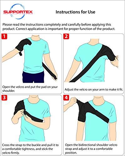 Shoulder Brace for Women and Men - Left Right Shoulder Support Brace for Rotator Cuff AC Joint Dislocated Shoulder - Adjustable Neoprene Shoulder Brace - Compression Shoulder Sleeve by Supportex (Image #6)