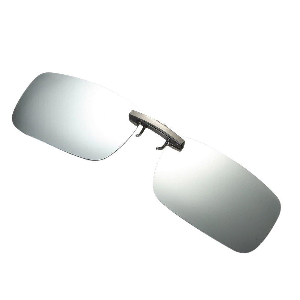 Womens Mens Sunglasses,DetachableNight Vision Lens Glasses Metal Polarized Clip On Glasses Sport Driving Sunglasses (Sliver, Free Size)