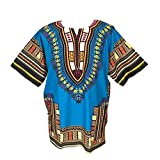 African Dashiki Shirts for Men and Women African Short Sleeve Dashiki Traditional Print African Summer Wear (Sky Blue)