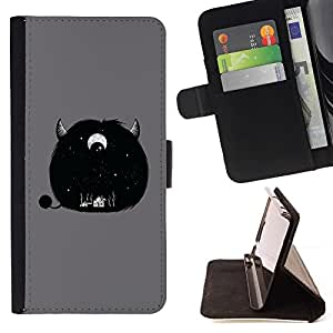 Momo Phone Case / Flip Funda de Cuero Case Cover - Furry Monster lindo Cuerno Gris de ojos - LG G4 Stylus H540