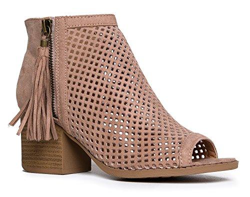J. Adams Maya Perforated Booties – Peep Toe Chunky Block Heel Tassel Ankle Boots - Perforated Peep Toe