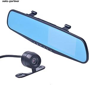 Dual Camera Car Dvr Camera Rearview Mirror Dash Cam G-Sensor HD 1080P 4.3'' 170 Degree night vision