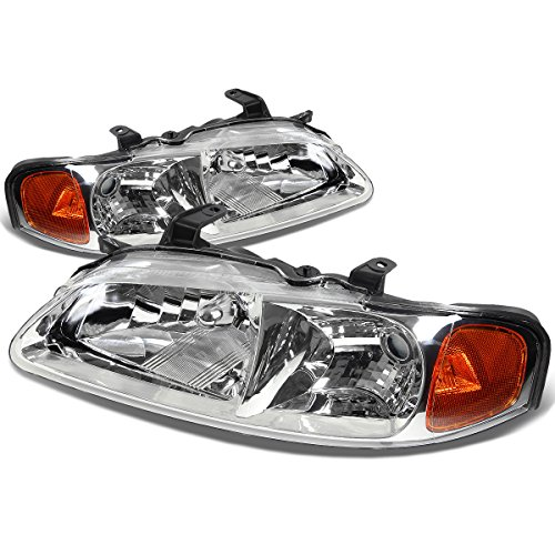 For Nissan Sentra Headlight Lamps With Amber Reflector Kit (Chrome Housing) - B15
