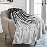 Extra Long King Size Blankets Soft Fleece Throw Blanket - Cozy Blanket for Bed or Couch - Gradient Flannel Striped Blanket for Bedroom and Living Room - Grey, Decorative Full/Queen Blanket by Gavotte Home