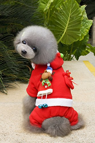 S-Lifeeling 2017 Classic Santa Claus Dog Costumes Holiday Halloween Christmas Pet Clothes Soft Comfortable Dog Clothes ()