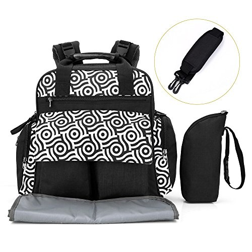 Nappy Diaper Backpack, PAVLIT 18.5L Capacity Baby Changing Bag with 14 Packing Cubes, Zip-Top Closure, Changing Mat, Pushchair Straps, Insulated Thermal Handbag for Mom & Dad (Black)