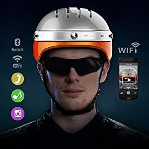Airwheel C5 Intelligent Helmet with Front Camera and Bluetooth Speaker for Cycling, Mounting, Skateboarding (Carbon Black, Large)