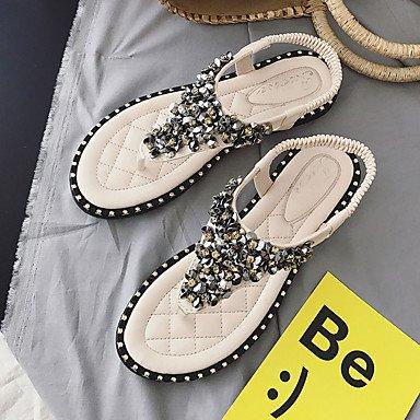 LvYuan Mujer Sandalias Confort Goma Verano Confort Hebilla Tacón Plano Blanco Negro Menos de 2'5 cms White