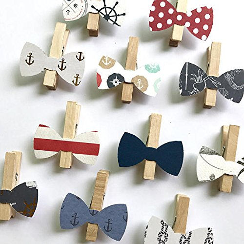 Nautical Bow Tie Clothespins Baby Shower Decoration Ancho...