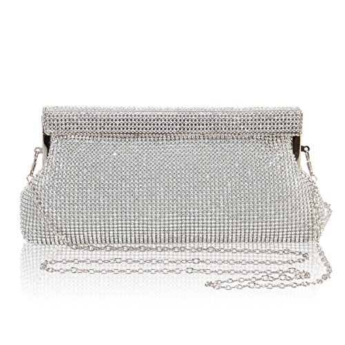 Hynes Victory Full Crystal Rhinestone Evening Handbags (Silver)