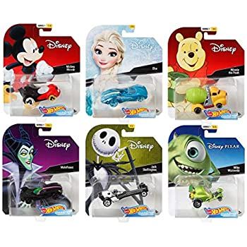 2018 Hot Wheels Set of 6 Disney 1/64 Character Cars Collectible Die Cast Toy Cars, with Michey Mouse, Elsa, Winnie The Pooh, Maleficent, Jack Skellington, ...