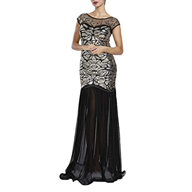 MAYEVER Women s 1920s Black Sequin Gatsby Maxi Long Ball Evening Prom Dress with Headband