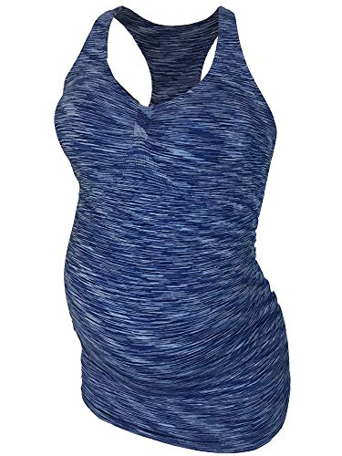 CLOYA Maternity Activewear Workout Tank Tops Pregnancy Women Yoga Clothes Seamless Racerback (M, Blue Heather)
