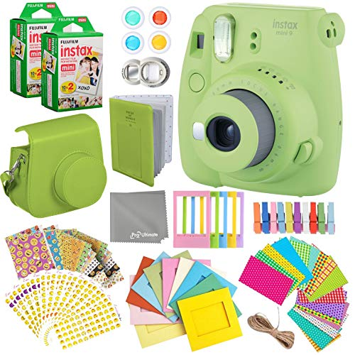 Fujifilm Instax Mini 9 Lime Green Instant Camera Kit – 40 Film Sheets, Carrying Case, Photo Album, Assorted Frames, Stickers and Accessories – Built-in Flash and Batteries Included