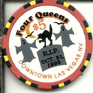 $5 four queens happy halloween 1998 las vegas casino chip rip 1995