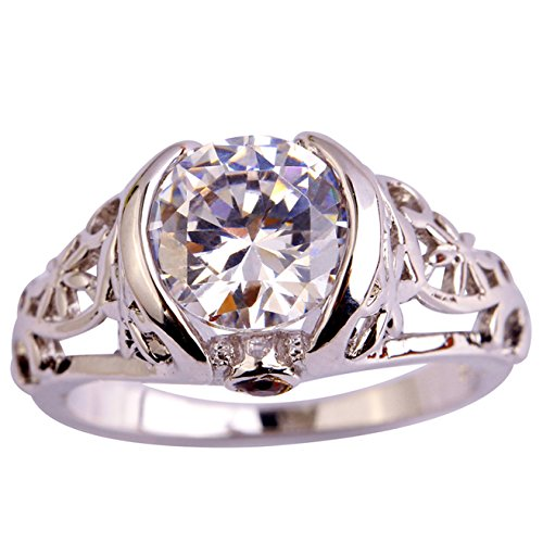 Emsione 925 Silver Plated 2ct White Topaz Womens Ring