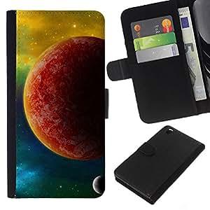 A-type (El Planeta Rojo) Colorida Impresión Funda Cuero Monedero Caja Bolsa Cubierta Caja Piel Card Slots Para HTC DESIRE 816