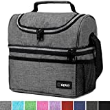Insulated Dual Compartment Lunch Bag for Men, Women | Double Deck Reusable Lunch Box Cooler with Shoulder Strap, Leakproof Liner | Medium Lunch Pail for School, Work, Office (Heather Gray)