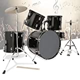 quads drum pad - Drum set cymbals full size kit 5 piece complete adult with stool & sticks black