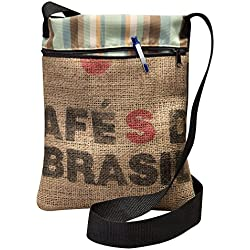 Upcycled Coffee Bean Burlap Crossbody Bag With Black Webbed Handles, Made In The US, By Sackcloth & Ashes (Brasil)