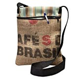 Upcycled Coffee Bean Burlap Crossbody Bag With Black Webbed Handles, Made In The US, By Sackcloth & Ashes