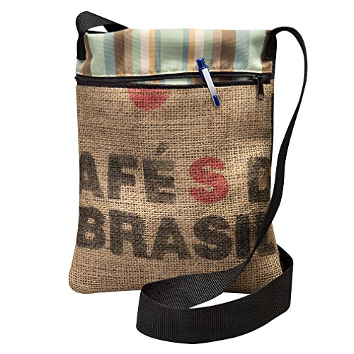 Striped Crossover (Upcycled Coffee Bean Burlap Crossbody Bag With Black Webbed Handles, Made In The US, By Sackcloth & Ashes (Brasil))