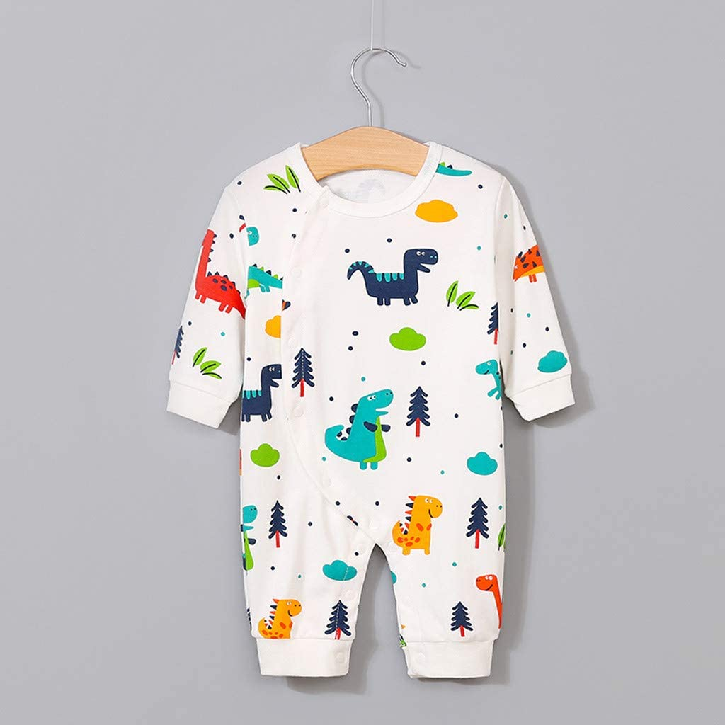 4Years Newborn Infant Baby Girls Boy Dinosaur Print Long-Sleeved Autumn and Winter Romper Jumpsuit Playsuit Clothes,3 Months