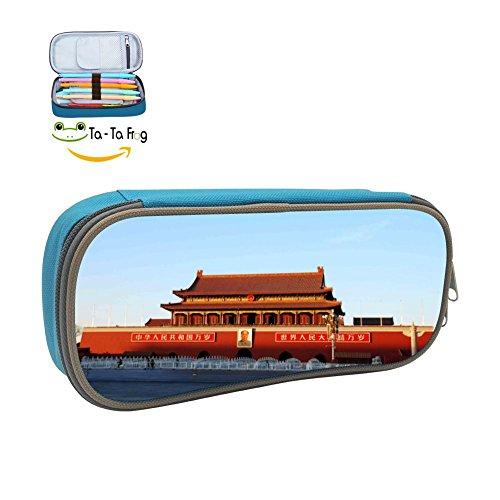 Tiananmen Pencil Case Pen Bag Durable Students Fashion Stationery With Double Zipper blue (Fbv Bag)