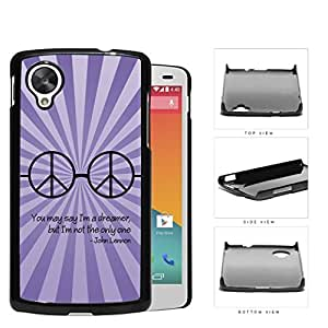 Dreamer John Lennon Quote with Peace Hippie Sunglasses (Purple Swirls) Nexus 5 Hard Snap on Plastic Cell Phone Cover by runtopwell