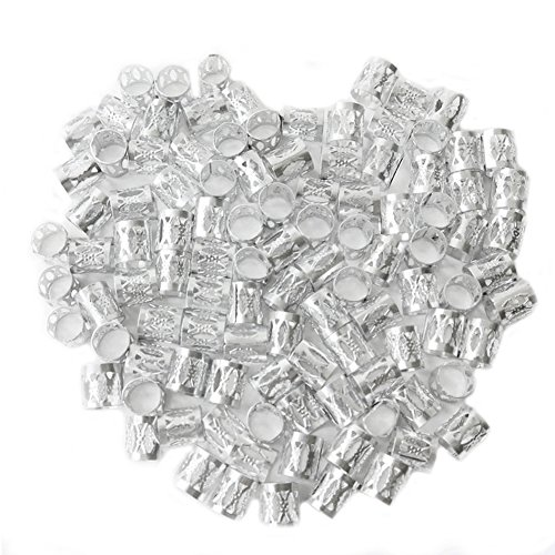 Dreadlocks Beads Dread Lock Silver Metal Cuffs Hair Accessories Braiding Decoration Filigree Tube 8mm 50pcs