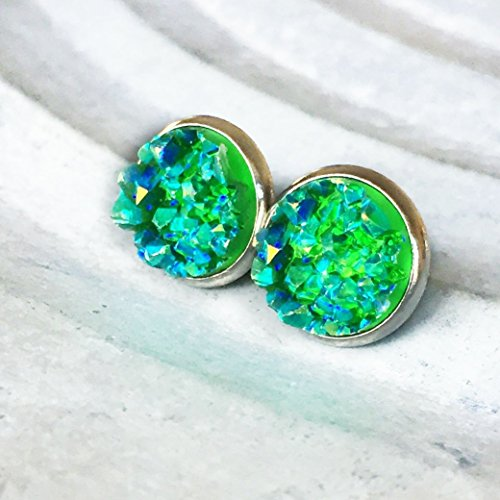bright-green-iridescent-faux-druzy-silver-tone-10mm-stud-earrings