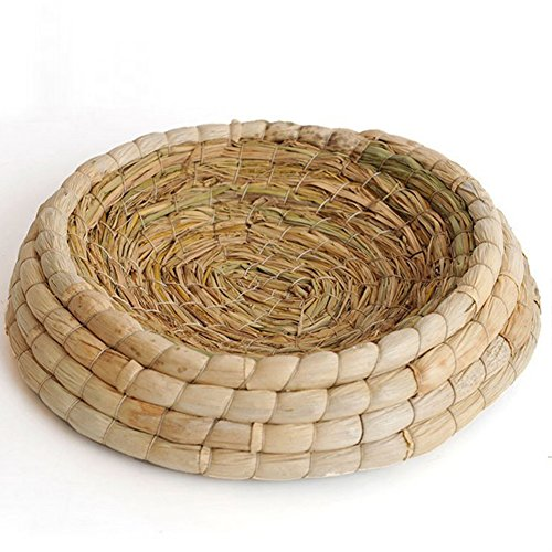 Handmade Woven Grass Birds Cages Flat Base Straw Mats Pet Nest Bed House for Chicken Dove Hamster Gerbil Chinchillas CC02 by QEES